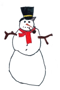 Kayden's snowman drawing.